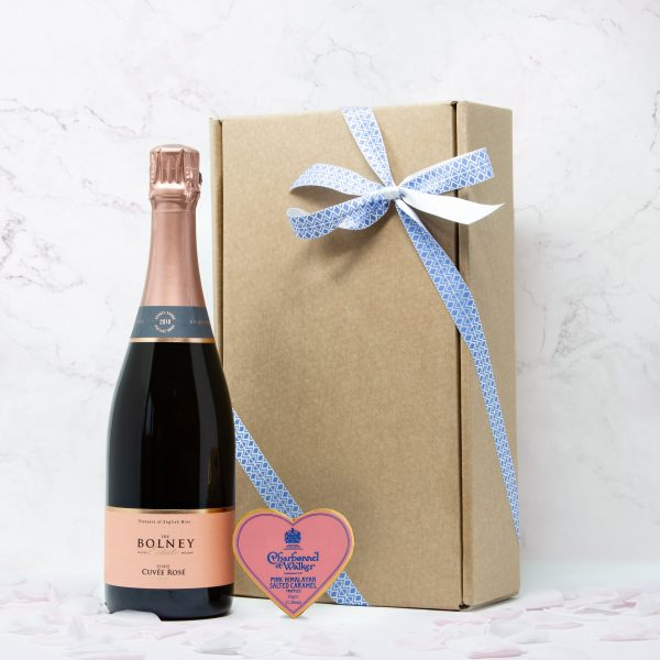 English sparkling rose wine and chocolate gift box, with Bolney wine estate Cuvée Rosé and Charbonnel et walker pink heart truffle chooclates