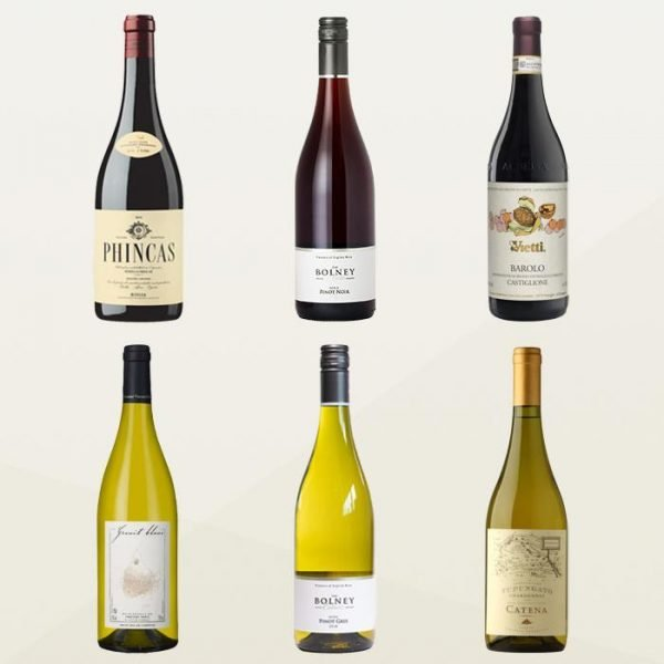 6 bottles of wine from around the world.