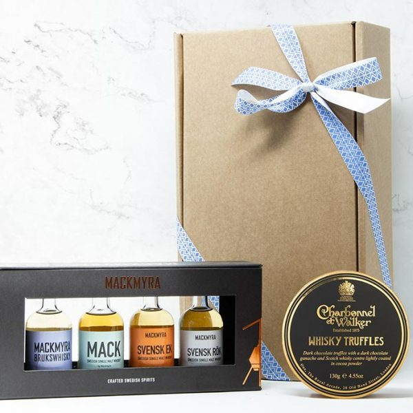Whisky Gift box with whisky collection and whisky chocolate truffles.