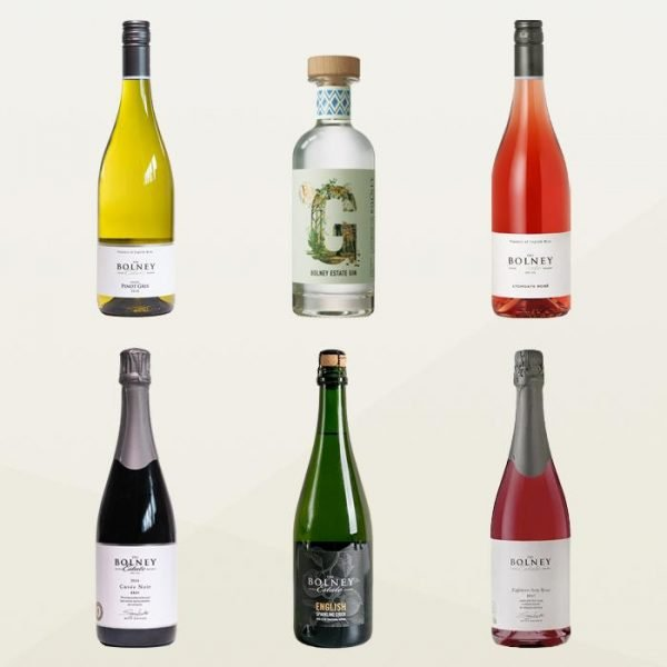 Mixed summer garden party wine case with English gin, sparkling cider and wine
