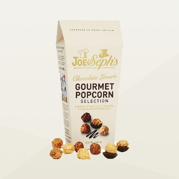 Box of Joe & Sephs gourmet chocolate popcorn selection