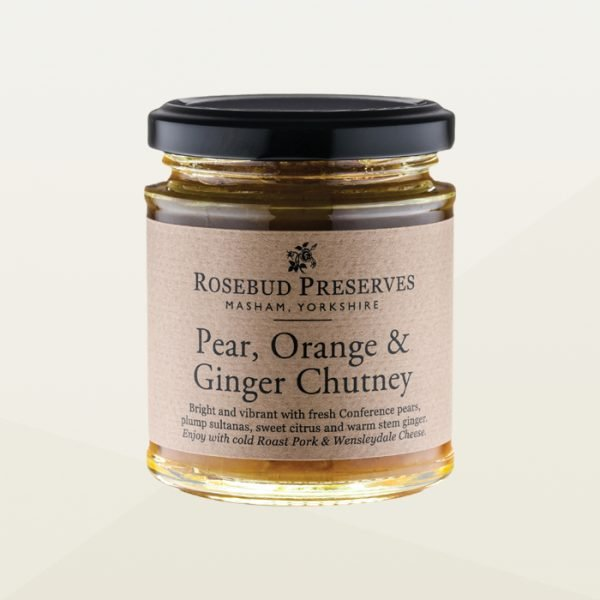 Pear, orange and ginger chutney for cheese