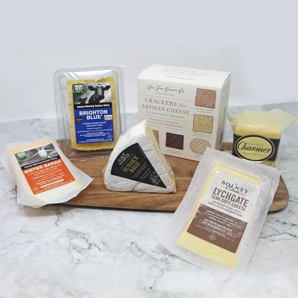 Selection of luxury cheeses, from cheddar, brie, goats cheese to Bolney Wine Estate Lychgate Rose cheese.