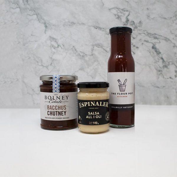 BBQ condiment's, ketchup, alioli and Bolney Wine Estate Bacchus Chutney